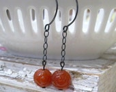 Agate Rose Bead and Oxidized Sterling Earrings