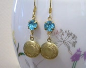 Vintage Blue Glass and Brass Earrings