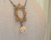 Vintage Brass Frame Blackened Sterling Necklace
