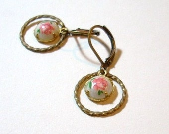 Vintage Rose Glass and Brass Ring Earrings