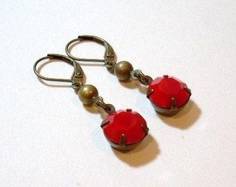 Vintage Red Swarovski Glass Brass Earrings