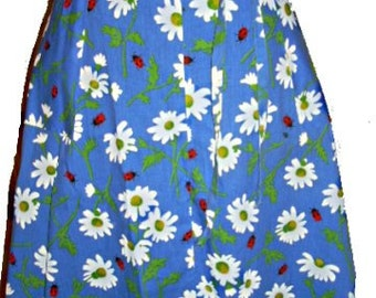 Vintage 70s Ladybugs and Daisies Wrap Skirt