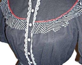 Vintage 70s Black w/Stripes and Dots, Prairie Gunne Style Dress