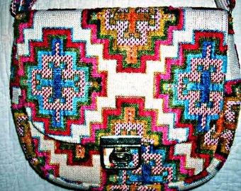 Vintage 70s Hippie Chick TAPESTRY Purse, Handbag, Shoulder Bag