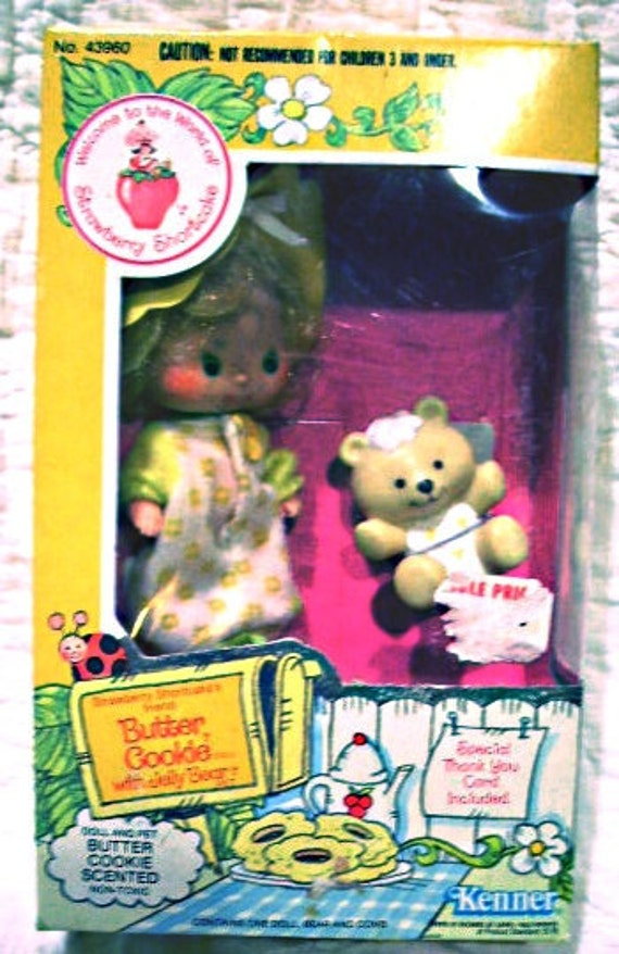 Vintage 80s MIB Strawberry Shortcake Butter Cookie Doll & Bear, Kenner 1982