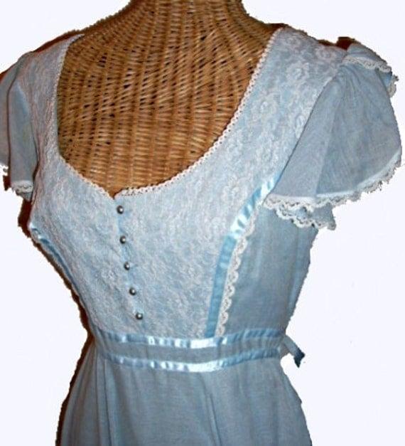 Light Blue Vintage 70s Gunne Style Maxi Length Dress, Bohemian, Gypsy, Prom