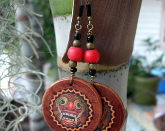 Rakshasa Face-Collage- Wooden Earrings-One-Of-A-Kind