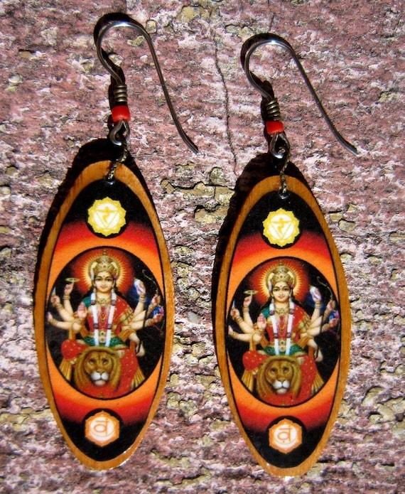 Durga\/Parvati\/Kali-Earrings- wood 2inch x 1inch