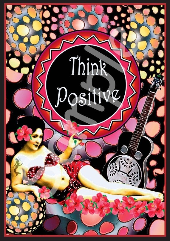 4x6 inch postcard-Think Positive-Eco friendly