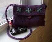 Felted Purse Messenger Bag / Kindle Case Forget Me Not - Made to Order