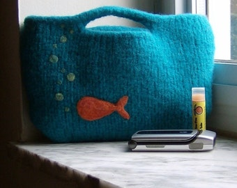 Fish Bowl Handknit Felted Clutch Purse - Made to Order