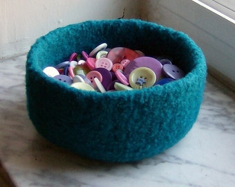 Turquoise Felted Treasure Bowl
