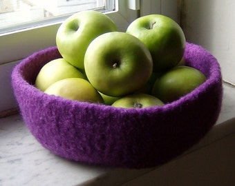 Violet Purple Double-Wide Felted Wool Treasure Bowl