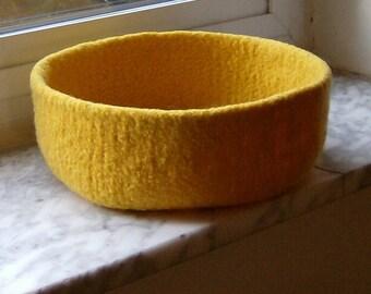 Felted Wool Bowl Lemon Double-Wide