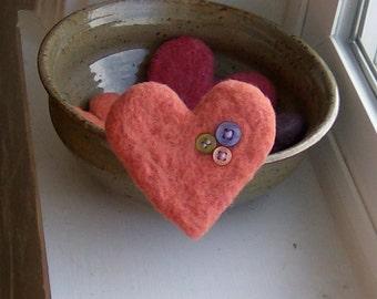 Love Button Heart Felted Brooch in Melon