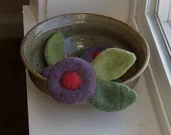 Felted Wool Flower Boutonnière / Fiber Art / Circle Bloom Flower Felted Brooch Wedding Boutonniere in Lavender Purple