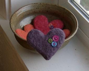 Needle Felted Wool Love Button Heart Brooch in Lavender Purple