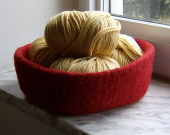Office Storage Airplant Terrarium Desk Organizer Nursery Passion Red Felted Wool Bowl Double-Wide