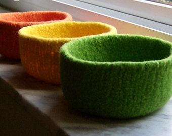 Sale Felted Wool Nursery Kitchen Tabletop Organizer Pick Three Felted Treasure Bowl Holiday Sale