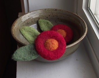 Circle Bloom Felted Brooch in Ruby Red