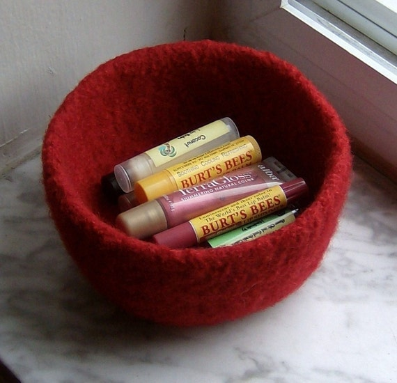 Felted Wool Bowl Passion Red