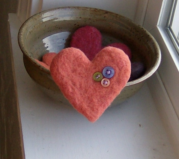 Love Button Heart Felted Brooch in Melon
