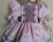 """Heirloom Quality Handmade Dress, Slip & Bloomers in Pink for Daisy or 18"""" Antique Doll  - TREASURY ITEM"""