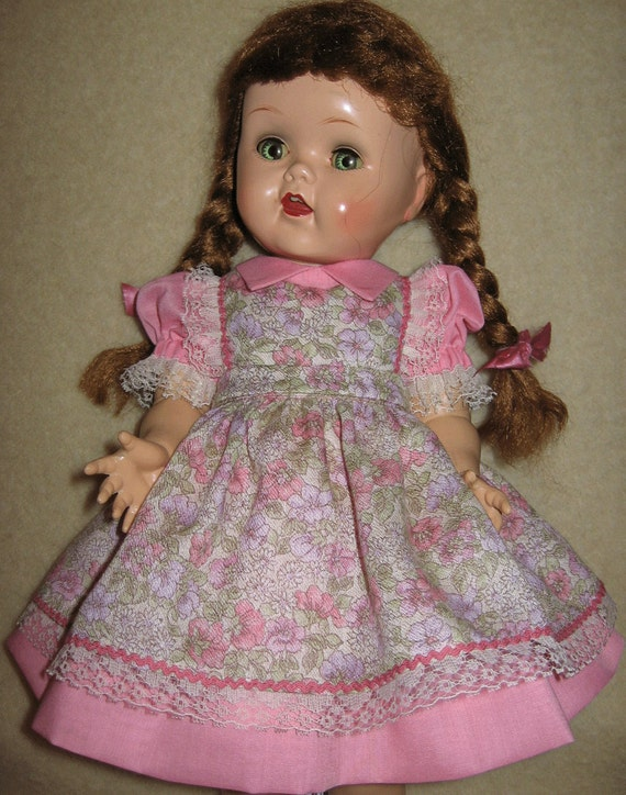 RESERVED FOR KAREN W-B - Dress and Pinafore for 16 inch Ideal Saucy Walker Doll Vintage Fabric