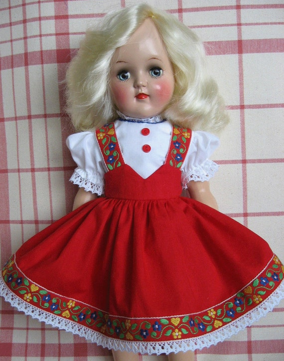Red Tyrolean Dress For 15-16 inch P-91 Ideal TONI Doll - One of a Kind Copy of Original