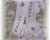PINK BLUSH - Hand dyed hand stamped Paris and Royal Crown trim - Vintage Cotton - 2 Yards