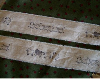 Primitive Muslin Hand Stamped Ribbon Trim - Once upon a time  - cute little sheep (0357)