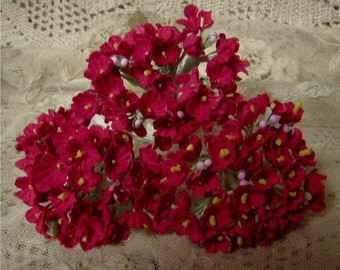 1 BOUQUET VINTAGE Millinery Flowers Forget Me Nots Red - Perfect for Valentine  Packaging or Crafts
