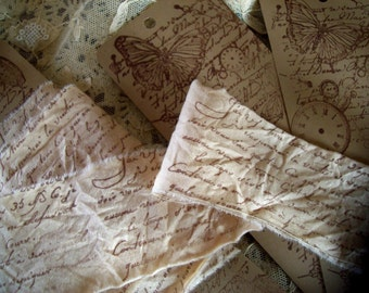 French Script Sentiment tea dyed natural muslin hand stamped  ribbon trim 2 Yards - Book Mark