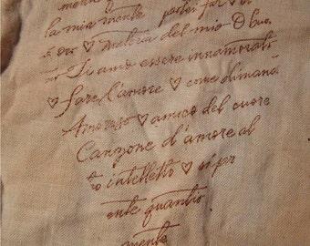 ITALIAN LOVE NOTES -  Hand Stamped Muslin Trim