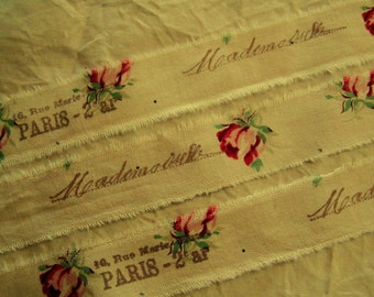 Vintage style French roses - Distressed Hand stamped trim  - 2 yards x 1 inch