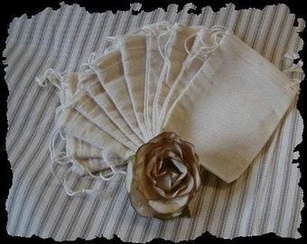 SET OF 10 - Drawstring  Muslin Bags