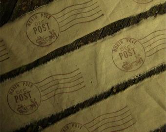 North Pole Hand Stamped Ribbon Trim -  2 Yards
