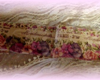 Mademoiselle Rose Garden - Hand stamped ribbon trim - floral Trim - French Ribbon  Trim