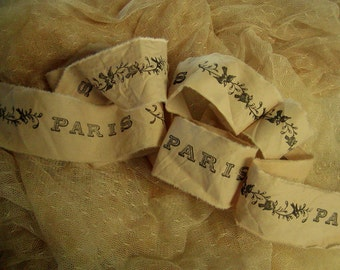 Paris Birds - Hand Stamped Trim - Hand stamped ribbon - Tea dyed (0218)