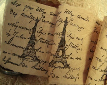French Script and Eiffel Tower - Hand Stamped Trim - Hand Stamped Ribbon Extra Wide (0244)