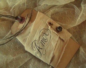 Italian Amor Valentine Hand Stamped Trim With Matching Gift Tag (0197)