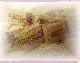 Vintage Victorian Style French Hand Stamped Ribbon  - 2 Yards (0301)