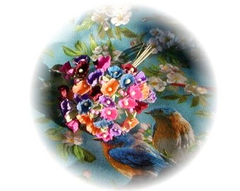 Vintage Style Millinery Forget Me Nots Rich Dramatic Colors