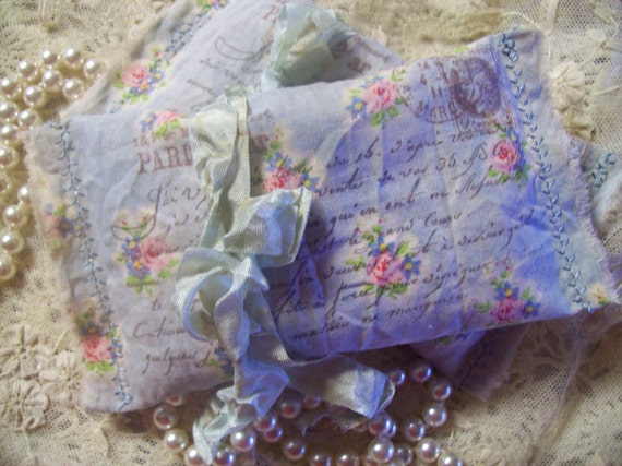 Vintage Style French Inspired Springtime Sachet  Hand Stamped with French script sentiment - hand dyed  filled with my Organic French Lavender