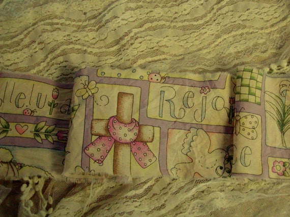 Inspirational Spiritual Easter Tea Dyed Ribbon - Extra wide hand frayed trim (0341)