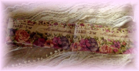 Mademoiselle Rose Garden - Hand stamped ribbon trim - 2 yards (0255)