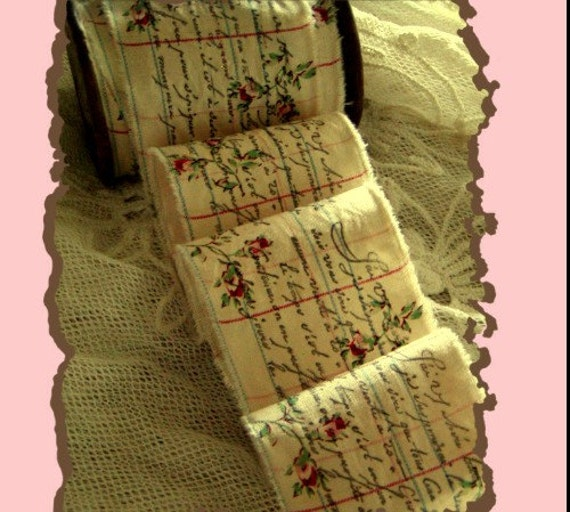 French Script Hand Stamped Trim - 1 Yard (0923)