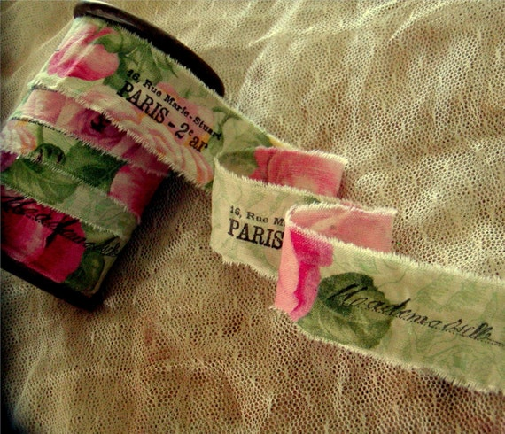 French Inspired Hand Stamped Ribbon Hand Stamped Trim Mademoiselle - Paris Address (0292)