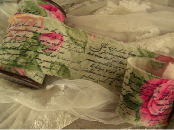 French Script on Roses  Hand Stamped Ribbon   Hand Stamped  Trim Paris (0293)