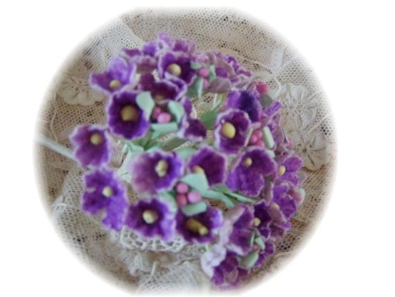 VINTAGE FLOCKED Millinery Flowers Forget Me Nots -  Purple